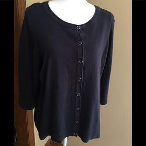 Navy blue button down cotton sweater PXXL
